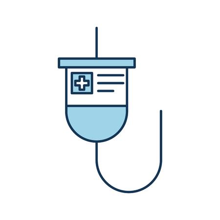 医療プラスチック バッグ iv 医学治療ベクター イラストをぶら下げ
