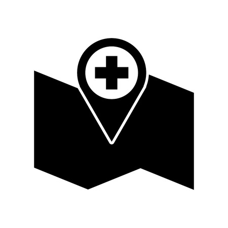 hospital pharmacy pointer on map location icon vector illustration