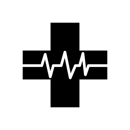 medical cross with heart beat healthy vector illustration Illusztráció
