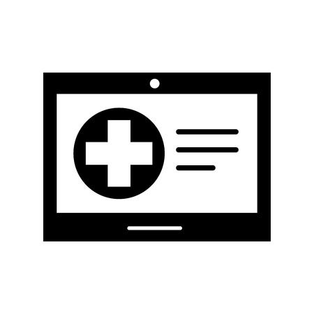 tablet hospital cross online service health vector illustration