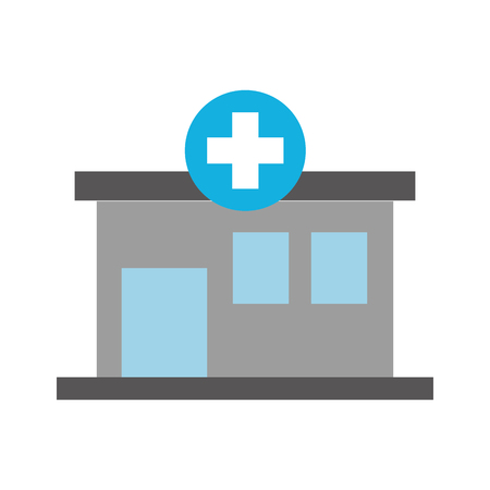 hospital building medical center front view icon illustration