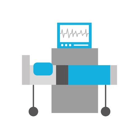 심장 박동 모니터 침대 의료 장비 벡터 일러스트와 함께 병원 인테리어 일러스트