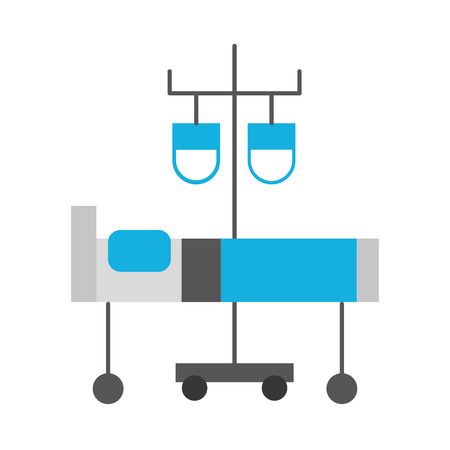 hospital medical bed and iv stand bag medicine vector illustration