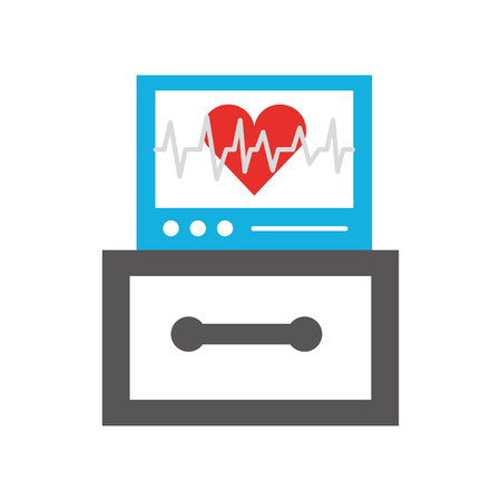 ecg machine displaying heartbeat monitoring vector illustration
