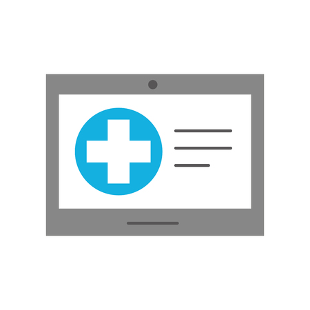 tablet hospital cross online service health vector illustration