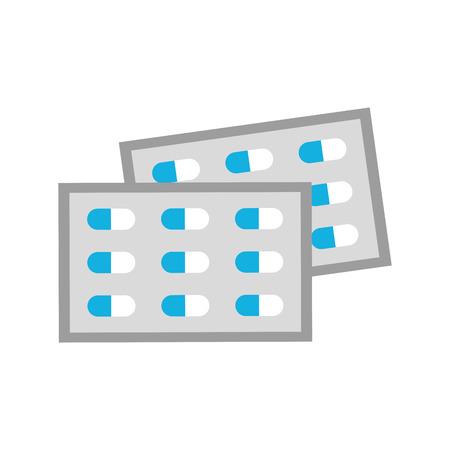 태블릿 비타민 항생제 벡터 일러스트 레이 션에 대 한 통증 치료 의료 약물 패키지