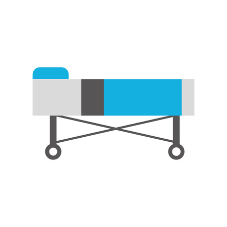 hospital bed with pillow and wheels vector illustration Ilustrace
