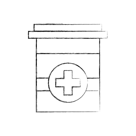plastic container medicine cross pharmaceutical treatment vector illustration