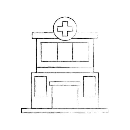 Vorderansichtikonen-Vektorillustration des Krankenhausgebäude-medizinischen Zentrums Standard-Bild - 85137028