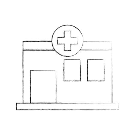 Vorderansichtikonen-Vektorillustration des Krankenhausgebäude-medizinischen Zentrums Standard-Bild - 85137045