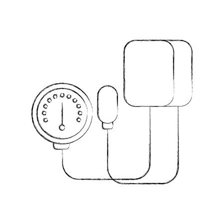 Tonometro medico per la misurazione della pressione sanguigna isolato su sfondo bianco illustrazione vettoriale Archivio Fotografico - 85137047