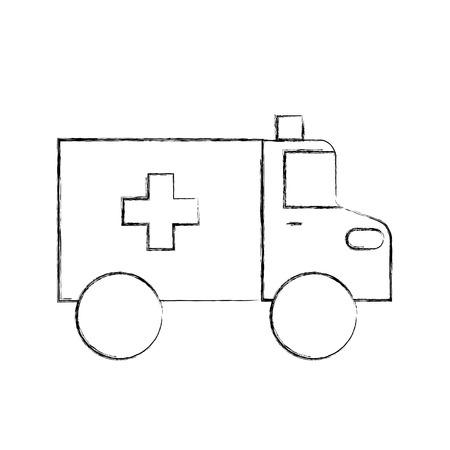 ambulance vehicle transport urgency help accident aid vector illustration Zdjęcie Seryjne - 85137033
