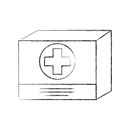 cardboard box medicine equipment supply icon vector illustration