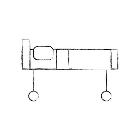 ziekenhuis bed met kussen en wielen vector illustratie