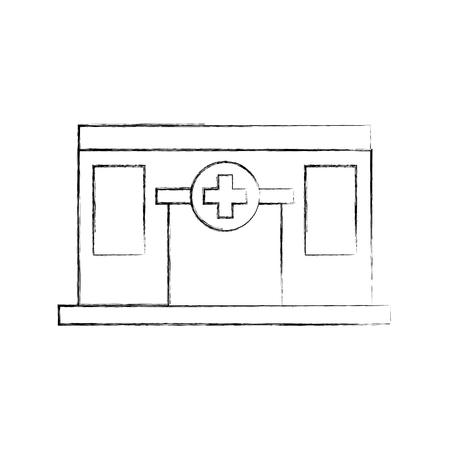 病院医療センター正面のアイコン ベクトル図の構築  イラスト・ベクター素材