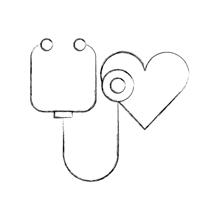 stethoscope shaped heart health symbol vector illustration