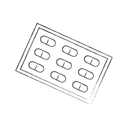 Traitement de la douleur paquet médical pour comprimés vitamine antibiotique illustration vectorielle Banque d'images - 85140013