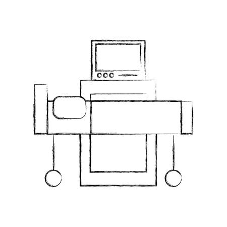 Intérieur de l'hôpital avec moniteur de fréquence cardiaque lit illustration vectorielle de matériel médical Banque d'images - 85139906