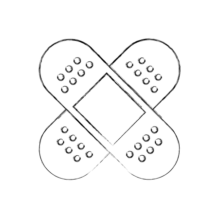 first aid band plaster medical of cross type icon vector illustration 向量圖像
