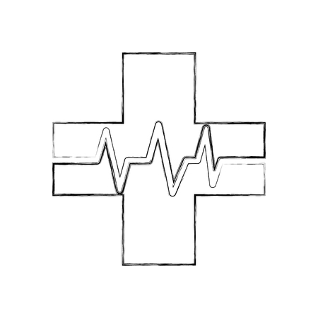 medical cross with heart beat healthy vector illustration 向量圖像