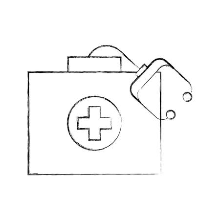 Kit medico prima pronto con attrezzature stetoscopio illustrazione vettoriale Archivio Fotografico - 85139712