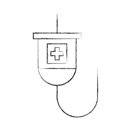 medical plastic bag iv hanging medicine treatment vector illustration