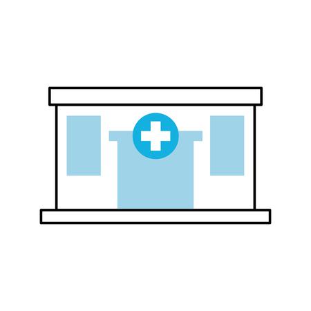 Ospedale costruzione medico centro frontale vista icona illustrazione vettoriale Archivio Fotografico - 85139746