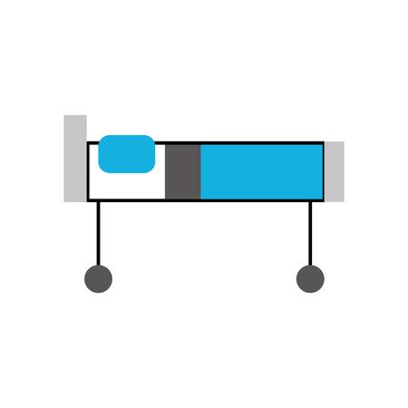 病院のベッドで枕とホイールのベクトル図