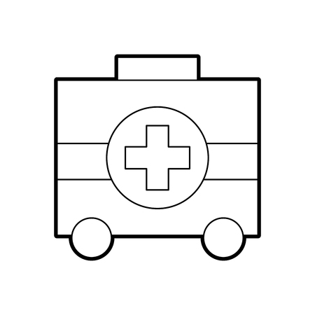 first aid kit health help and medical support with wheel vector illustration
