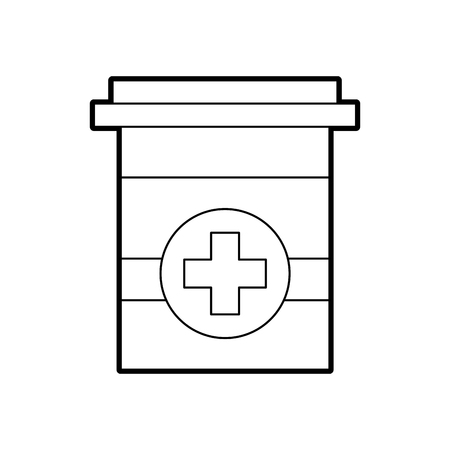 plastic container medicine cross pharmaceutical treatment vector illustration Banco de Imagens - 85139500