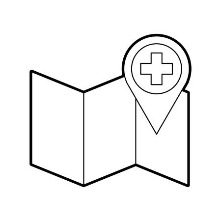 Puntero de la farmacia del hospital en la ilustración de vector de icono de ubicación de mapa Foto de archivo - 85139504
