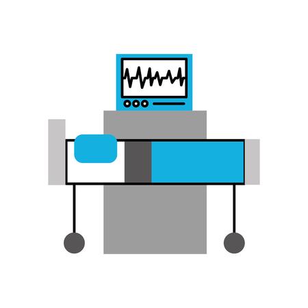Interior del hospital con el monitor de frecuencia cardíaca cama equipo médico ilustración vectorial Foto de archivo - 85139511