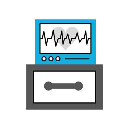 하트 비트 모니터링 벡터 일러스트를 표시하는 심전도 기계