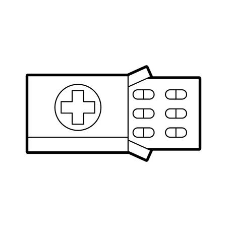 Traitement de la douleur paquet médical pour comprimés vitamine antibiotique illustration vectorielle Banque d'images - 85138529