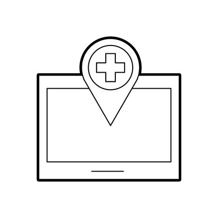 ポインター マップ ナビゲーション医療ベクトル図を搭載したタブレットします。  イラスト・ベクター素材