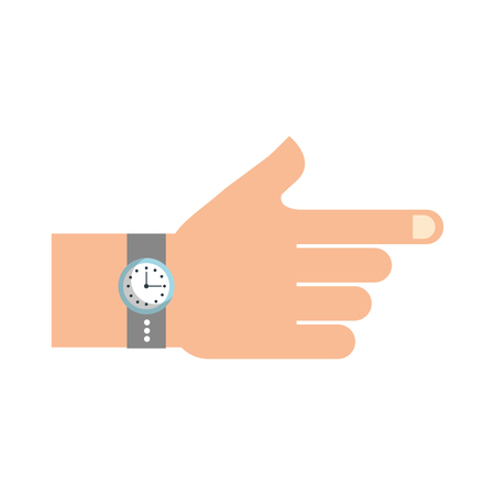 hand with watch time accessory fashion vector illustration