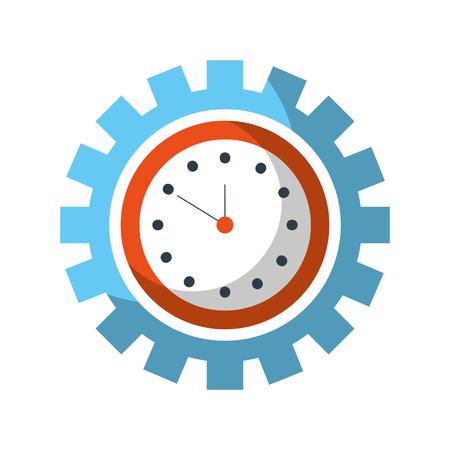 Reloj dentro de engranaje negocio tiempo trabajo concepto vector illustration Foto de archivo - 85138834