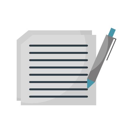 契約のベクトル図を書くテキストとペンの文書に紙のシート