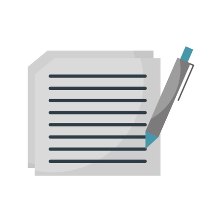 텍스트 및 펜 문서 용지 계약 벡터 일러스트 레이션을 작성