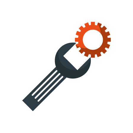 support concept repair spanner with screw vector illustration