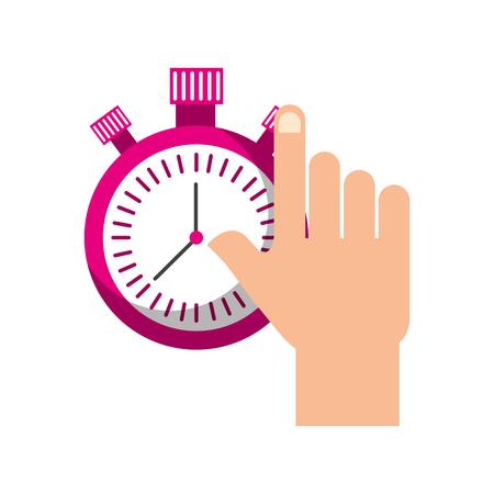 hand holding chronometer control countdown image vector illustration