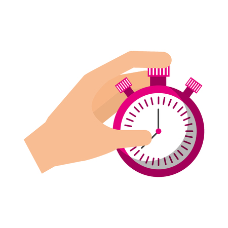 hand holding finger on chrome stopwatch with seconds arrow vector illustration Illustration