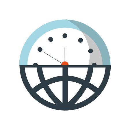 절반 글로브 플러스 반 시계 시간 관리 벡터 일러스트 레이션을 의미