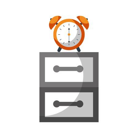 ベッドサイド テーブル警告朝ベクトル図の目覚まし時計