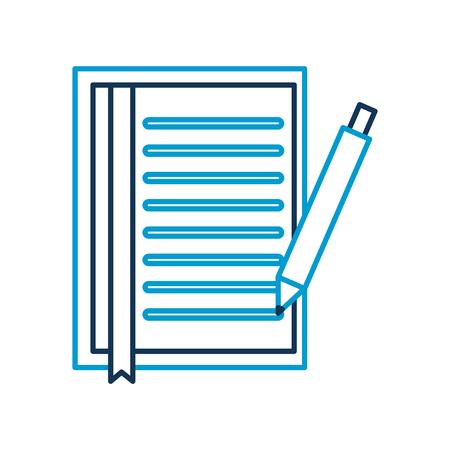 document blad bladwijzer en pen office object vectorillustratie Stock Illustratie