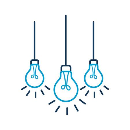 bombillas colgando de la ilustración vectorial techo Ilustración de vector