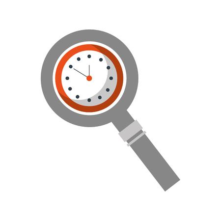時計付きの虫眼鏡処理装置ベクトル図