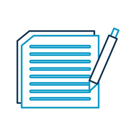 テキストとペンの文書作成契約ベクトルイラストレーション付き用紙