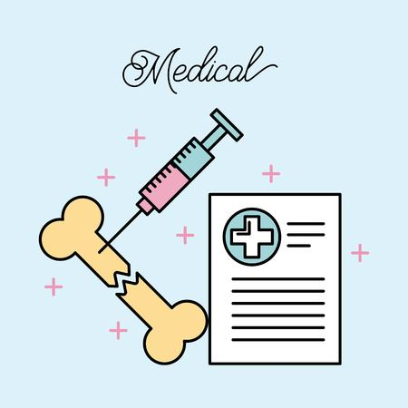 medical broken bone and syringe report record vector illustration Иллюстрация
