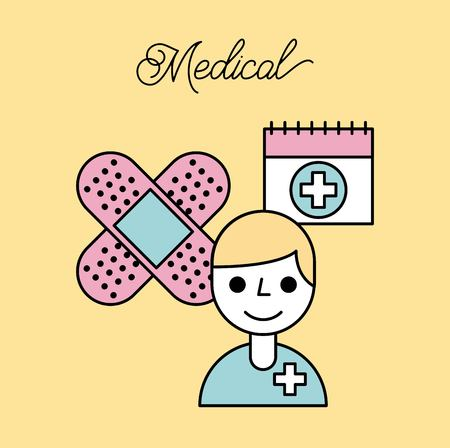 medical doctor plaster bandage and calendar vector illustration Illustration
